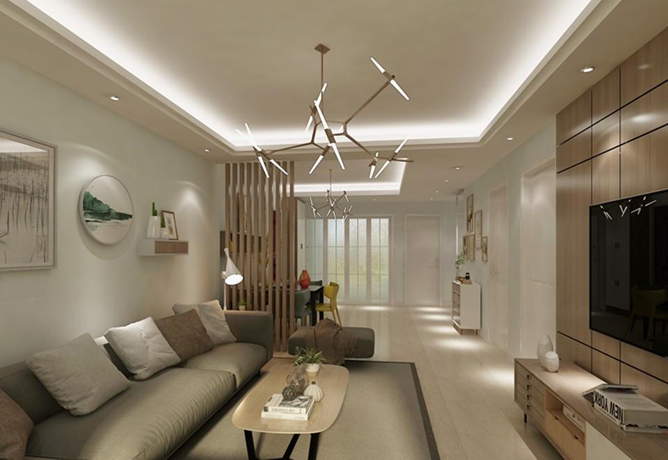 简约风格106平米三室两厅新房装修效果图