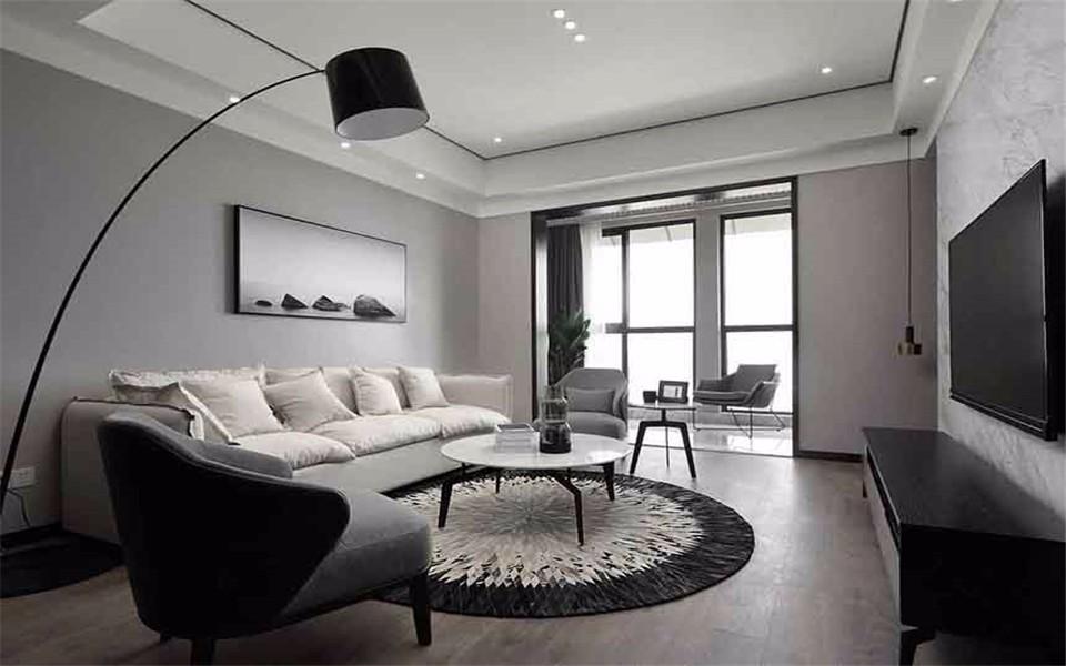 沈阳尚景新世界112平极简主义风格二居室装修效果图