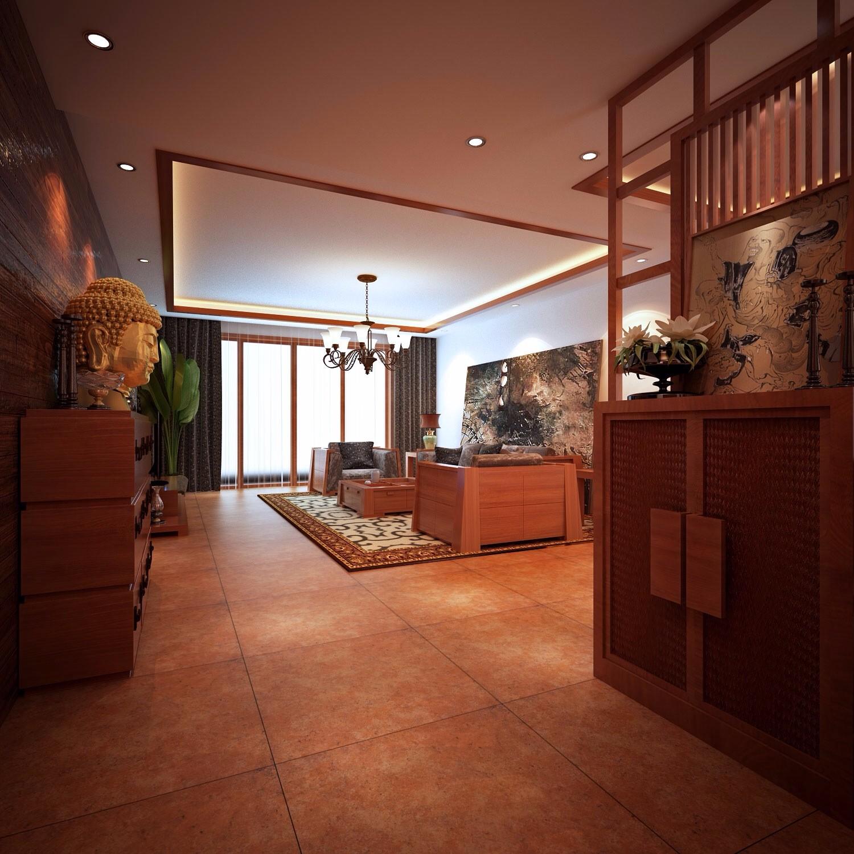 中式古典风格142平米大户型室内装修效果图