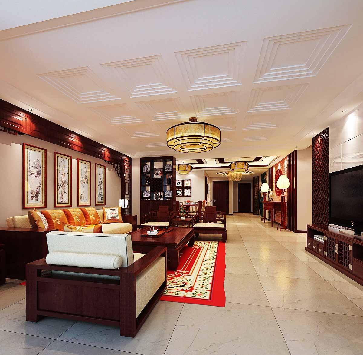 280平新中式风格套房装修效果图