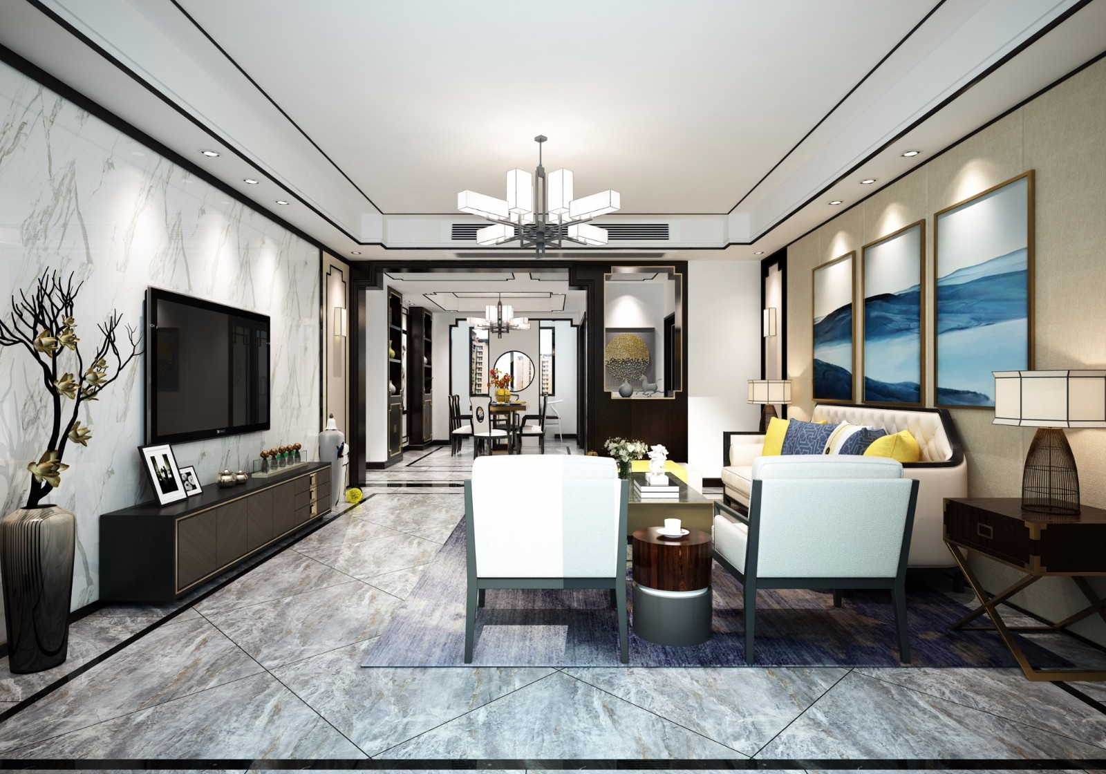 170平新中式风格四居室装修效果图