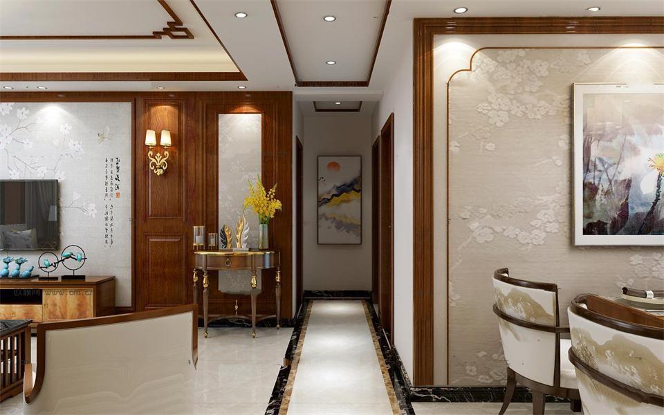 2020中式客厅装修设计 2020中式走廊装修效果图大全