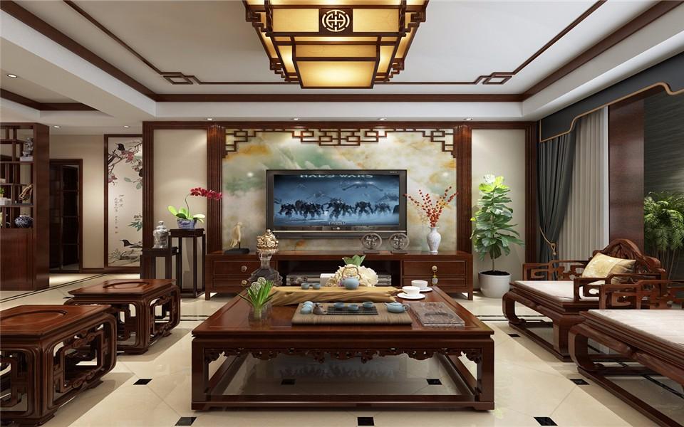 180平中式风格三居室装修效果图