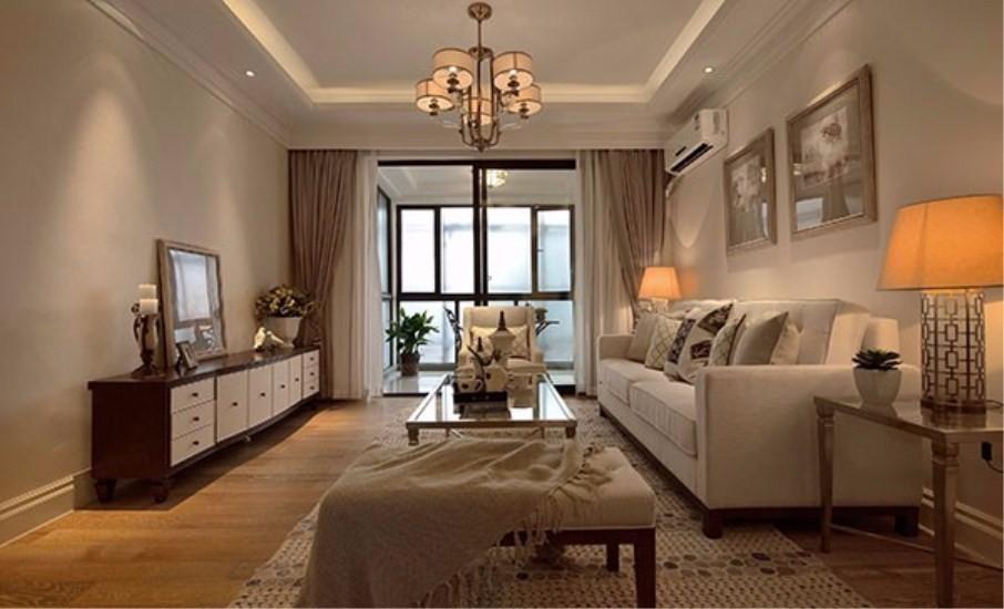 90平美式风格两居室装修效果图