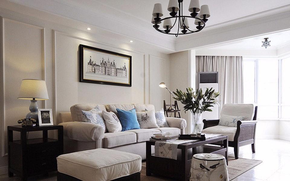 98平美式风格两室两厅装修效果图
