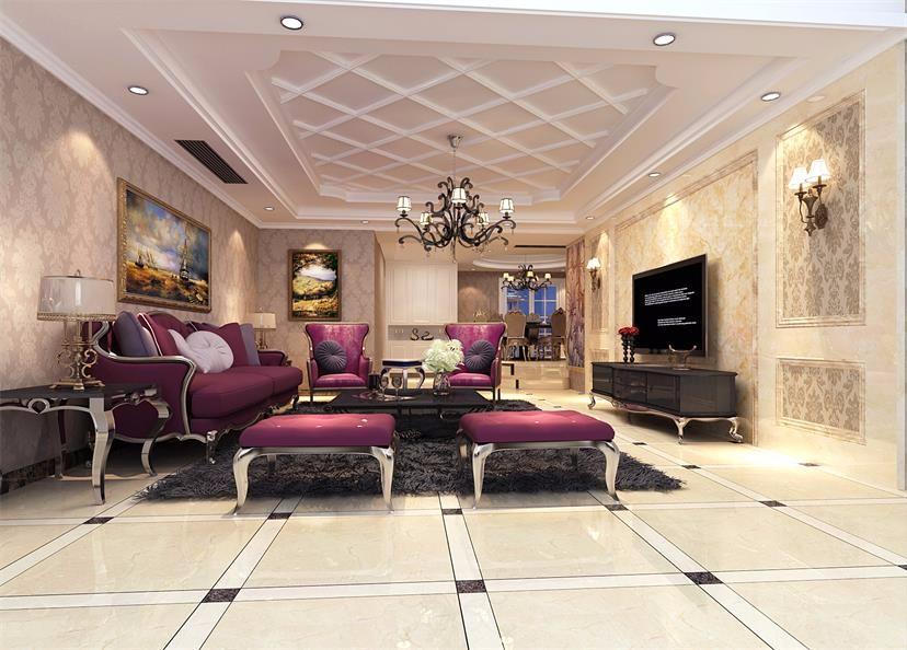 156平中式风格三居室装修效果图