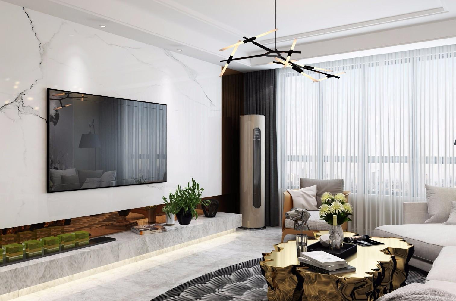 156平美式风格三居室装修效果图
