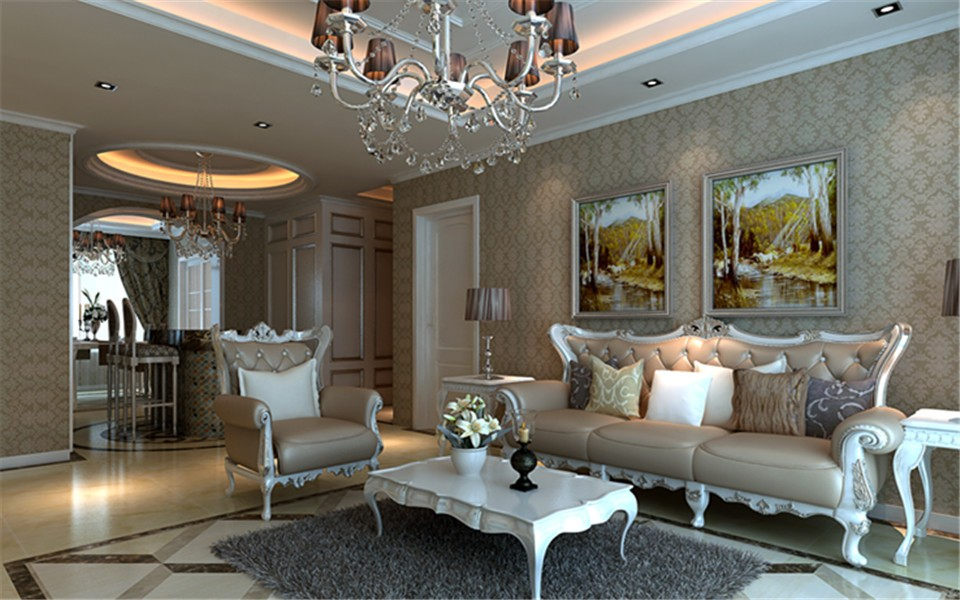 135平欧式风格三居室装修效果图