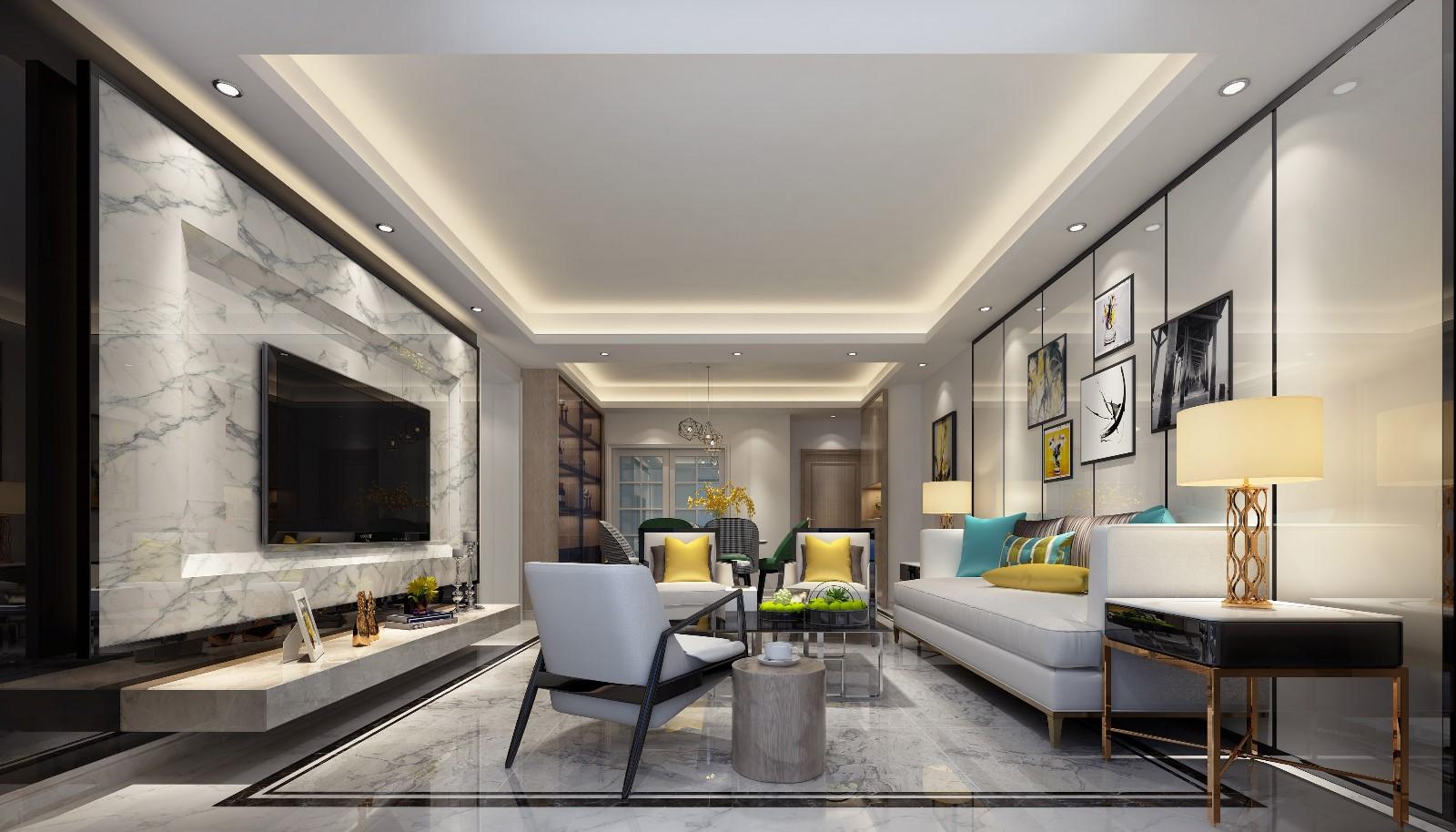 150平后现代风格三居室装修效果图