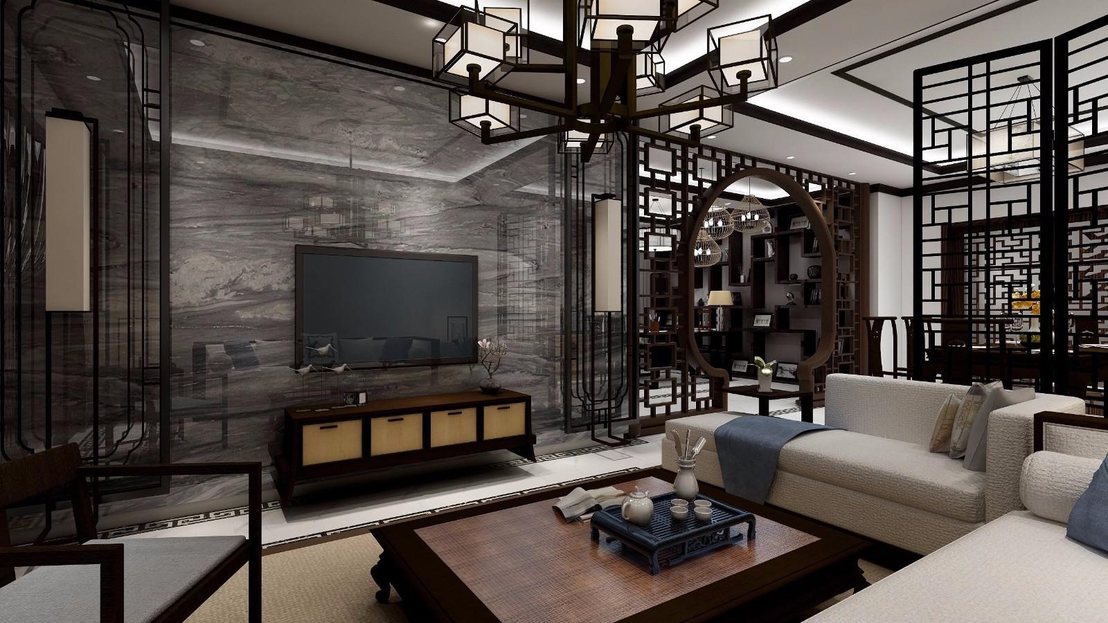172平中式风格三居室装修效果图