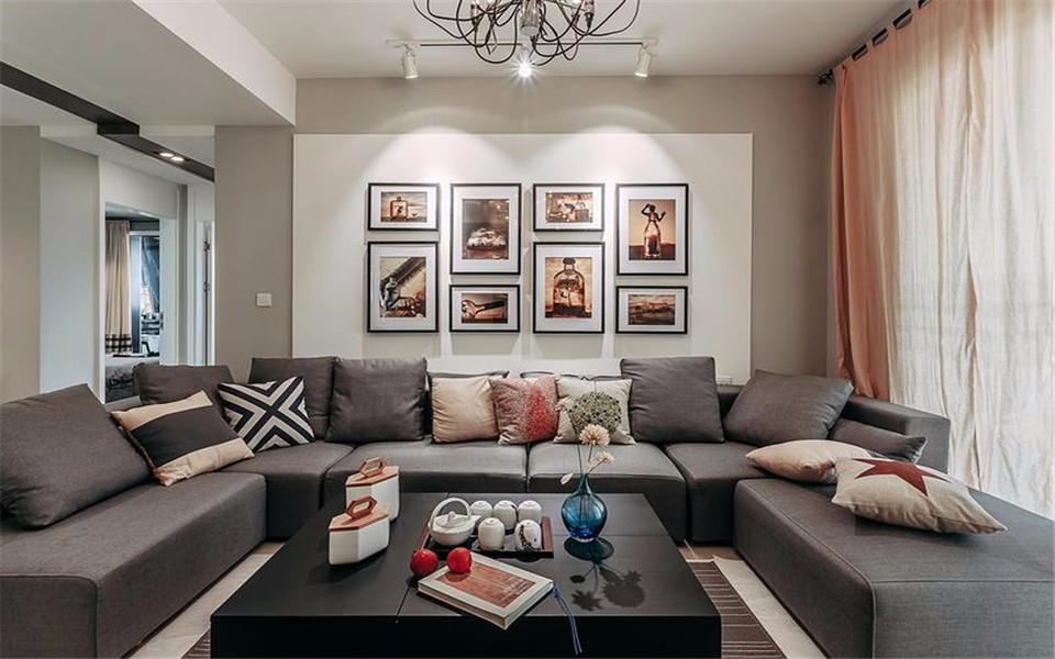 129平现代风格三居室装修效果图