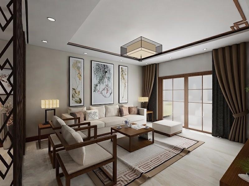 104平中式风格三居室装修效果图