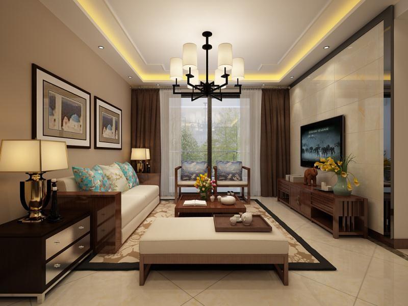 128平新中式风格三居室装修效果图