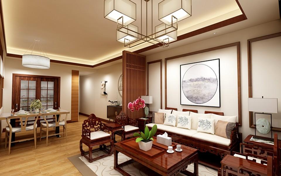 109平新中式风格四居室装修效果图