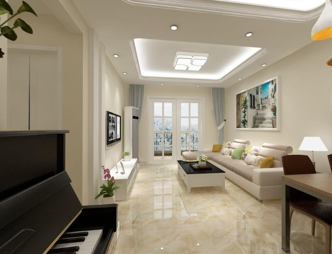 94平简约风格两居室装修效果图