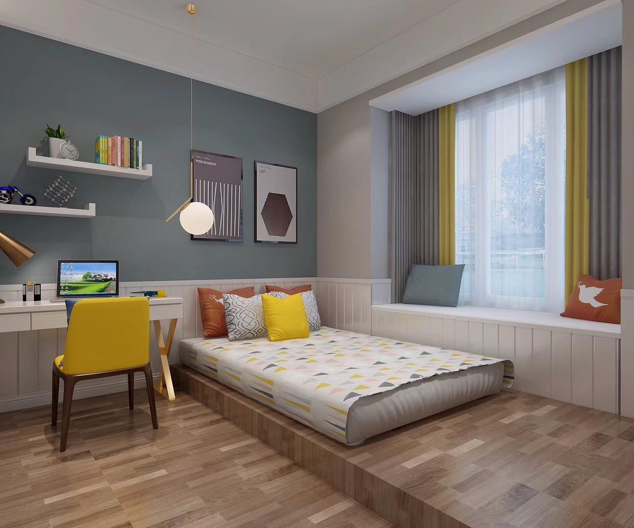94平简欧风格三居室装修效果图