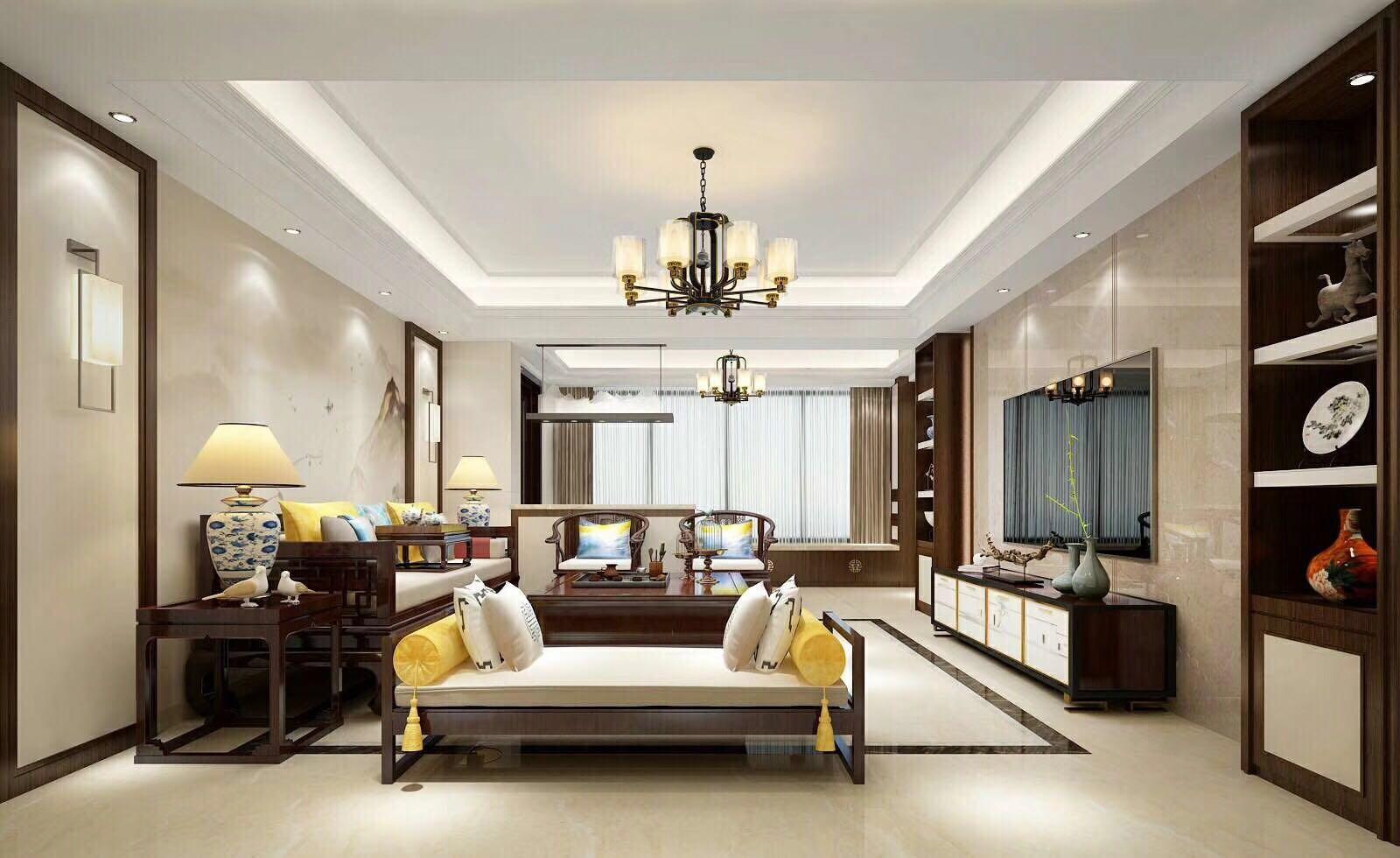 173平新中式风格三居室装修效果图