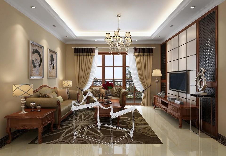 77平美式风格两居室装修效果图