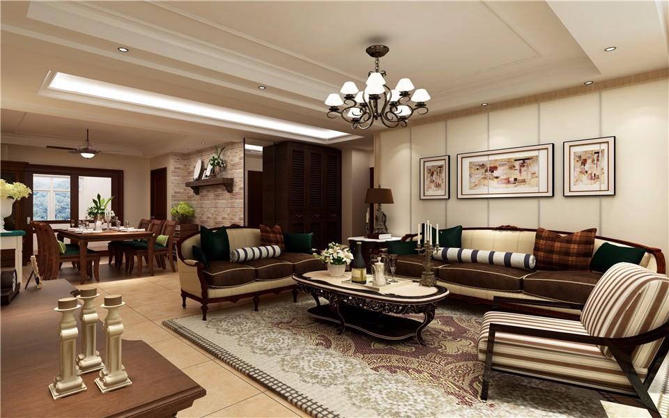 3室2卫1厅107平米新中式风格