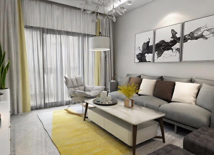 3室1卫2厅90平米现代简约风格