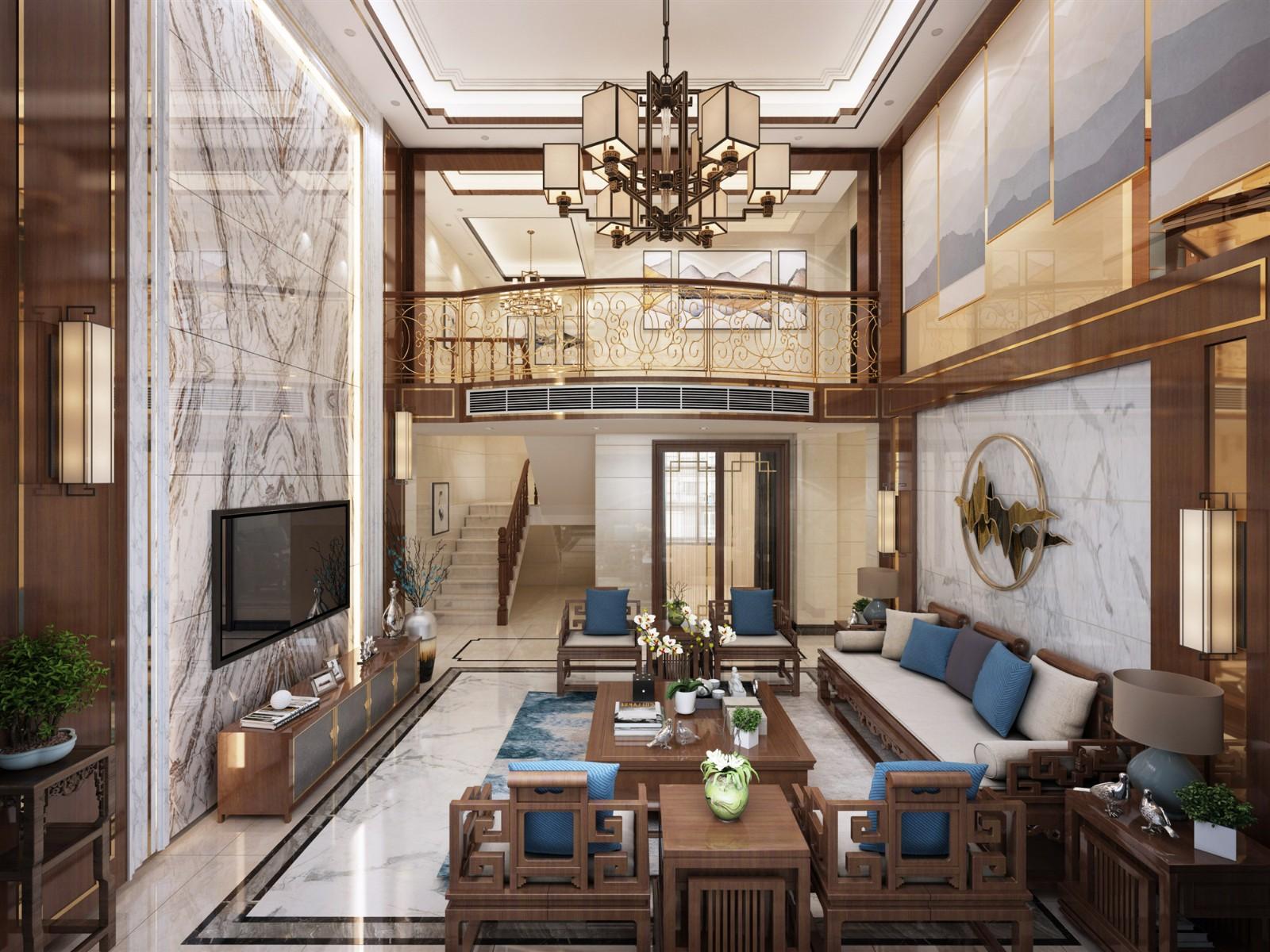 2021现代中式300平米以上装修效果图片 2021现代中式别墅装饰设计