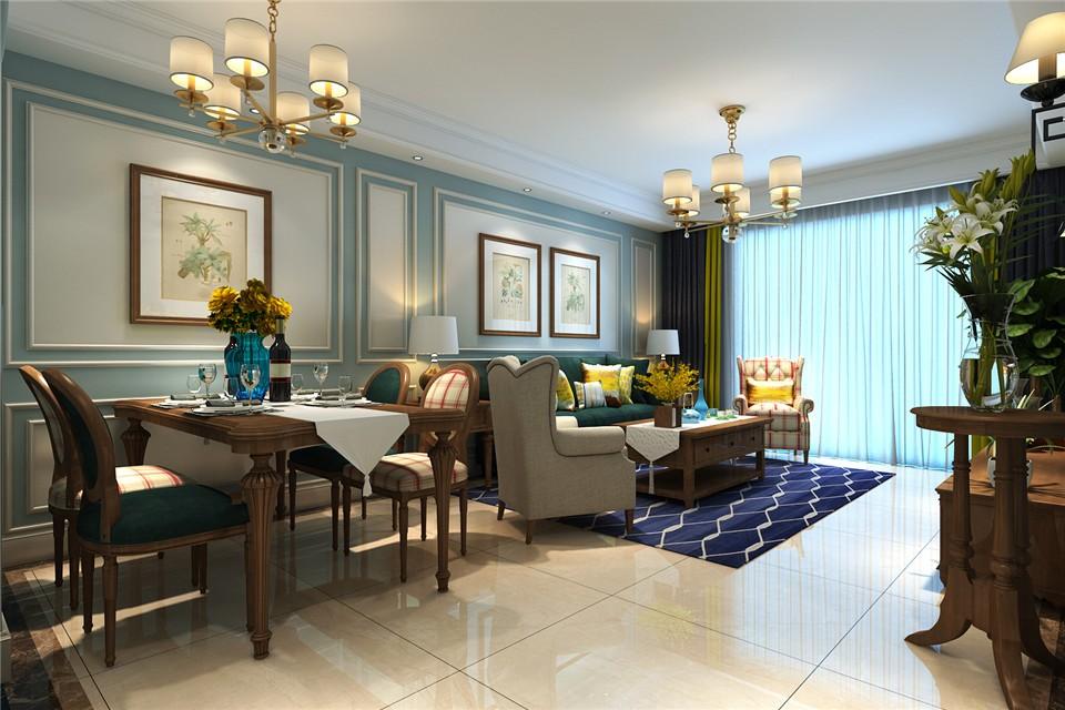 98平美式风格三居室装修效果图