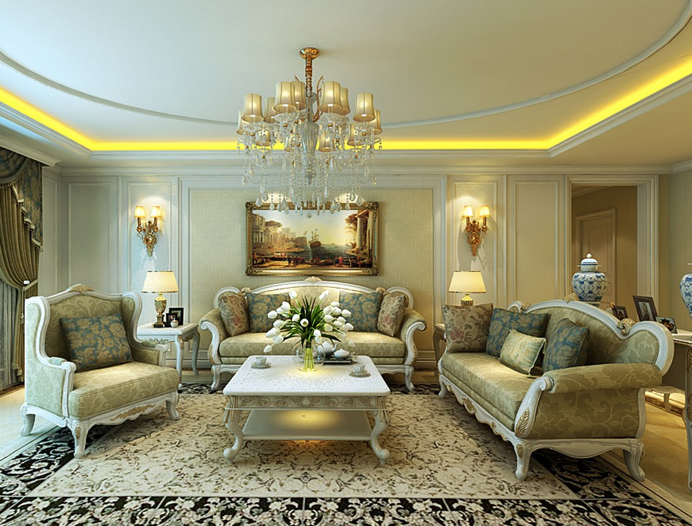 200平新古典风格三居室装修效果图