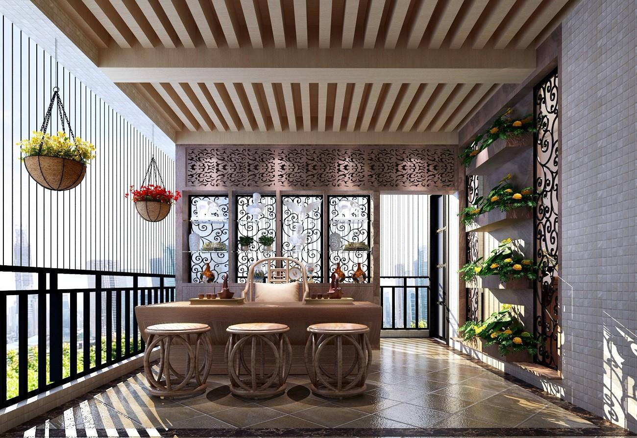 2020新中式阳台装修效果图大全 2020新中式茶几效果图