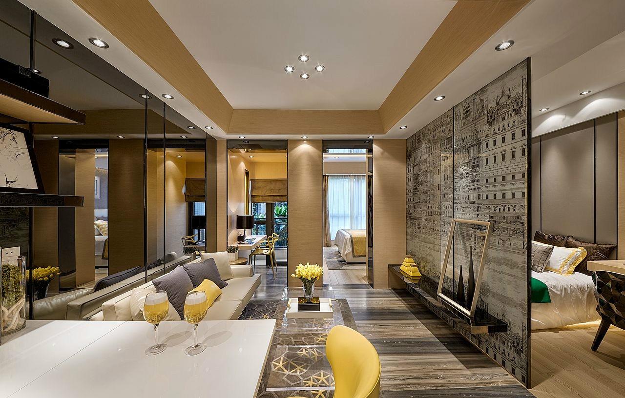 143平现代风格三居室装修效果图