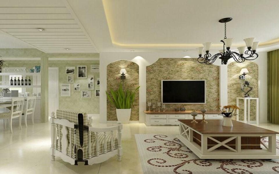 2019欧式田园客厅装修设计 2019欧式田园吊顶设计图片