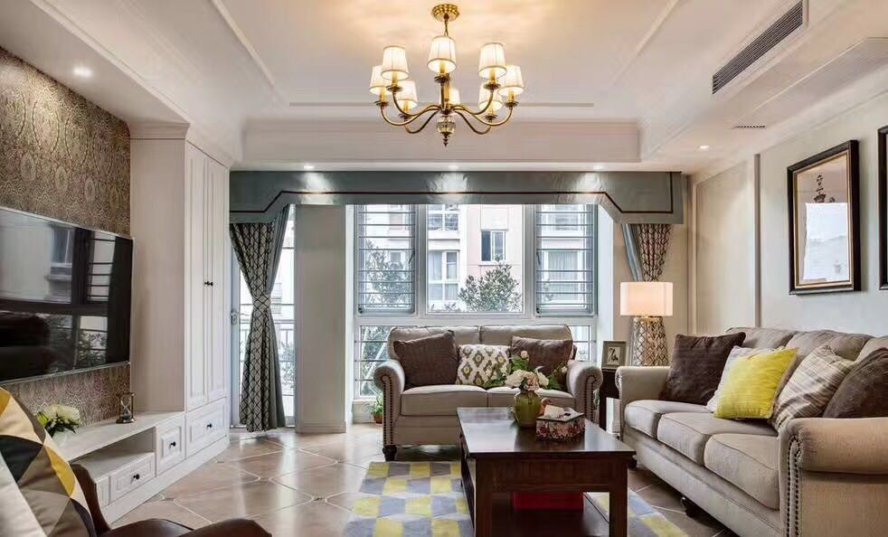 100平美式风格两居室装修效果图