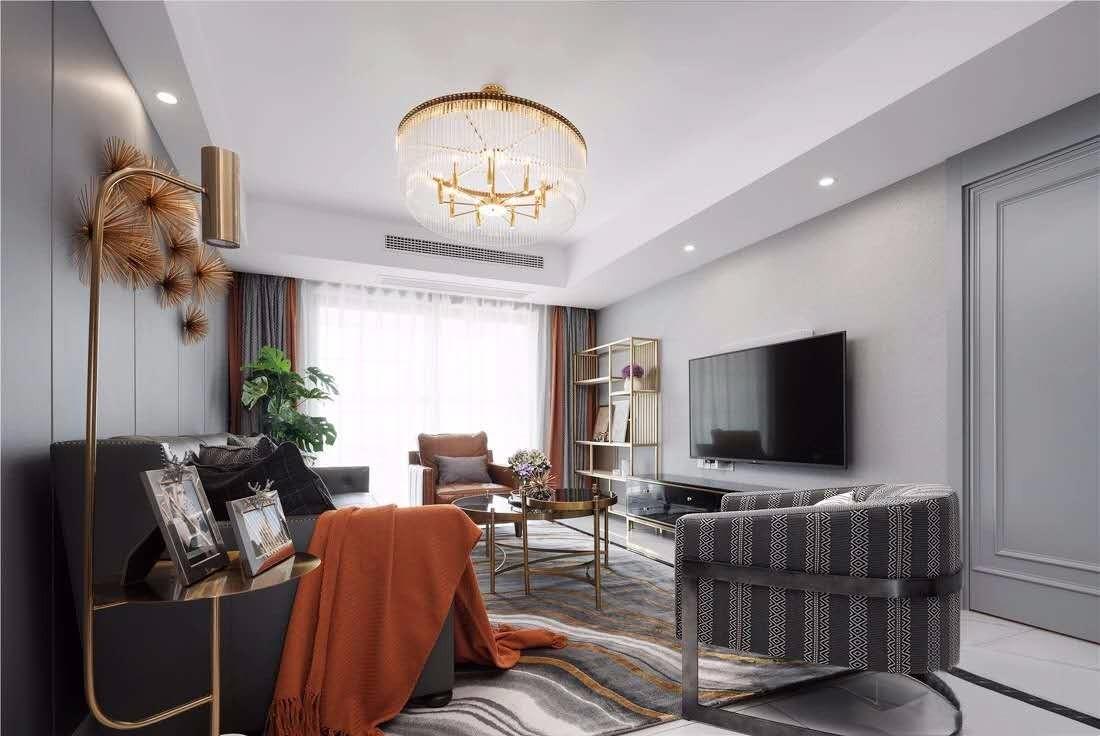 143平美式风格三居室装修效果图