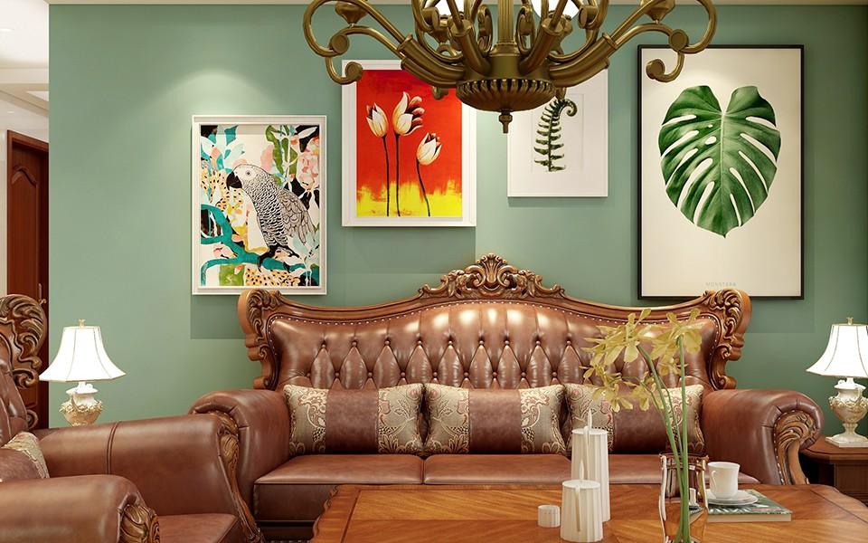 89平美式风格三居室装修效果图