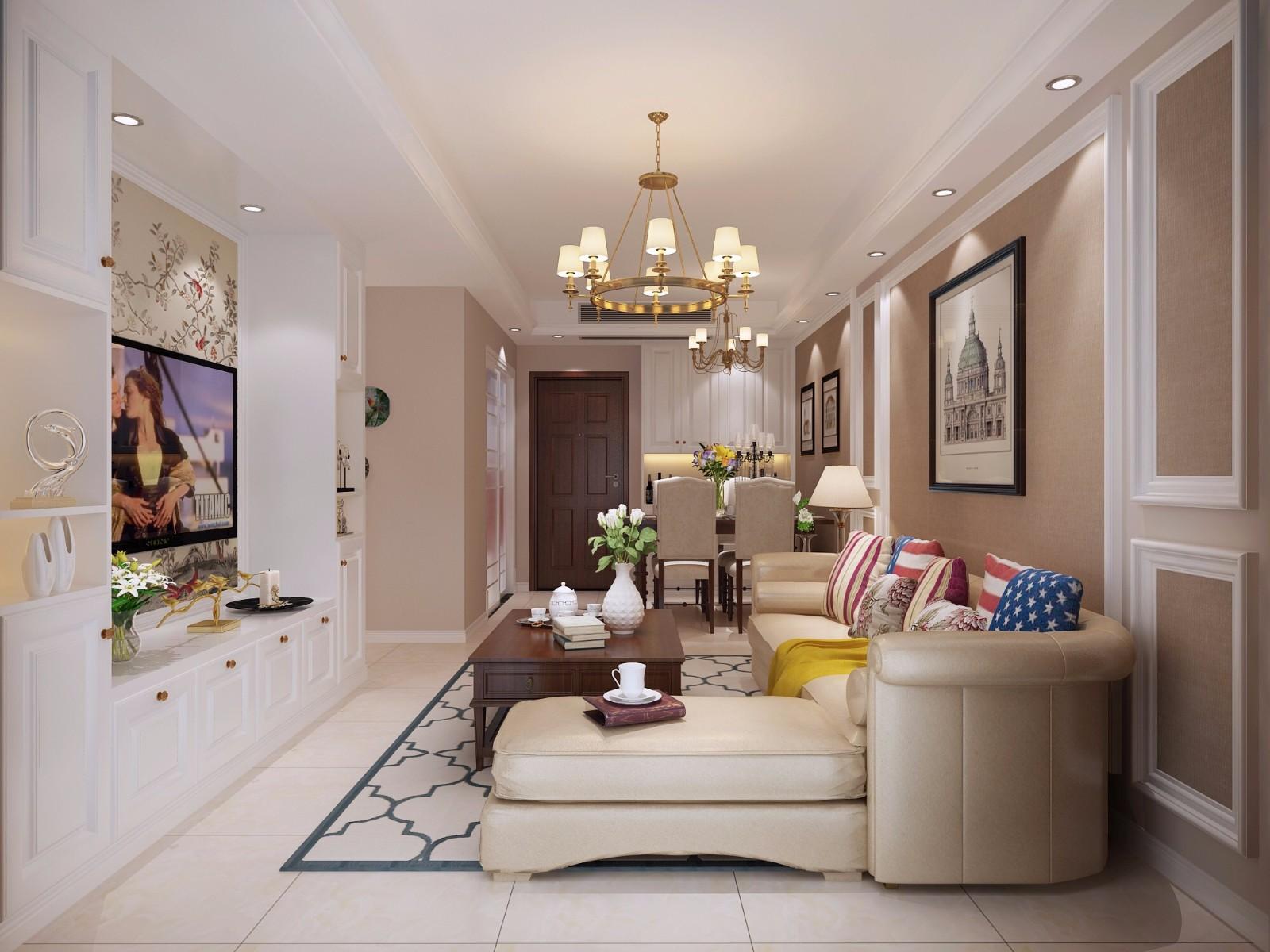 90平三居室美式风格图片
