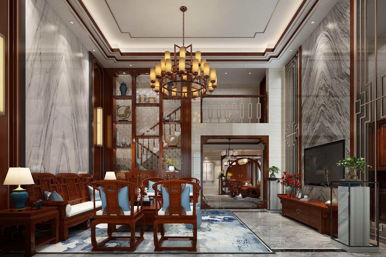 356平新中式风格别墅装修效果图