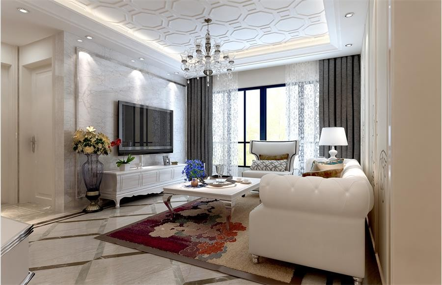 150平简欧风格三居室装修效果图