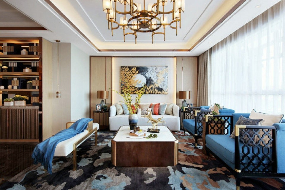 158平新中式风格三居室装修效果图