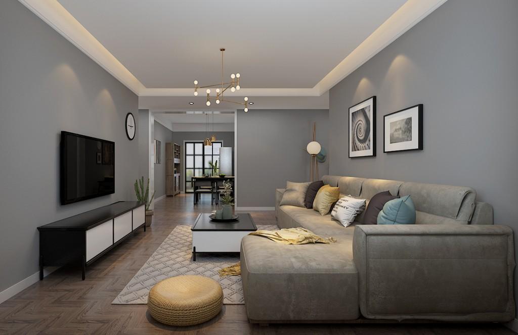 100平简约风格两居室装修效果图