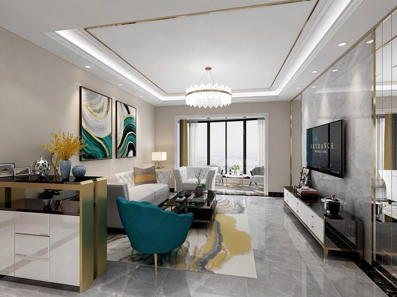 100平现代简约风格两居室装修效果图