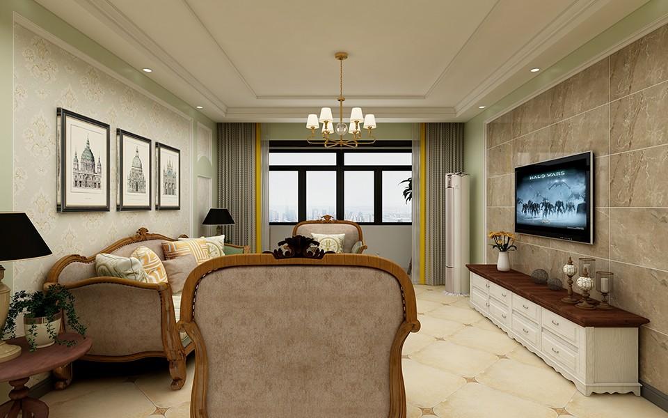 120平美式风格三居室装修效果图