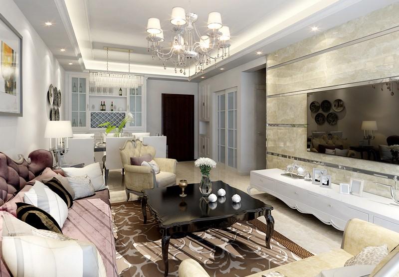 綠島明珠5房2廳3衛簡歐風格裝修設計
