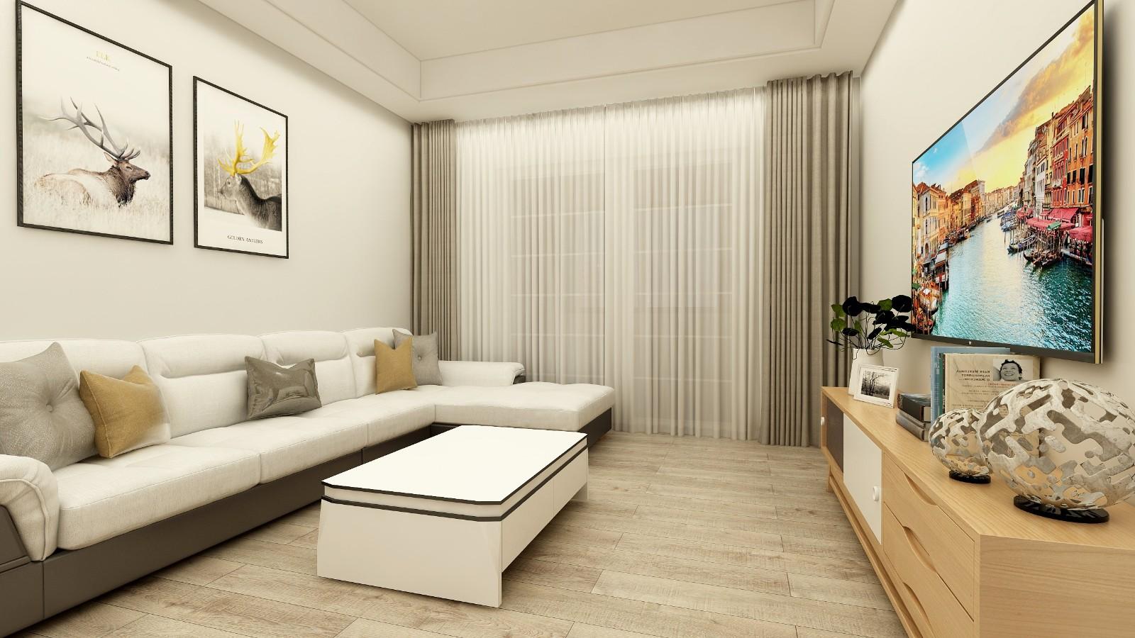 朗詩里程兩房一廳簡約風格裝修效果圖