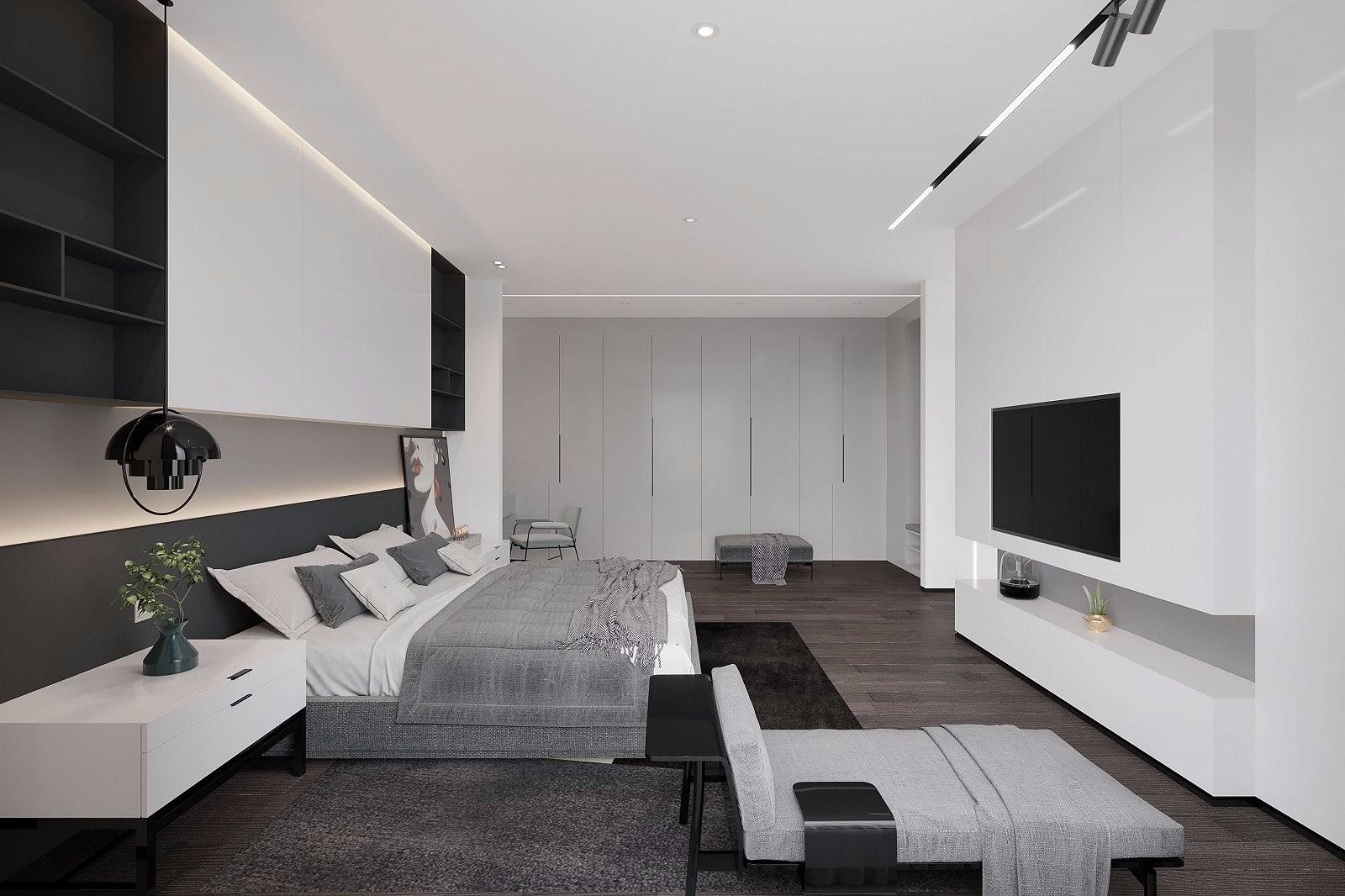 现代灰白系套房装修效果图