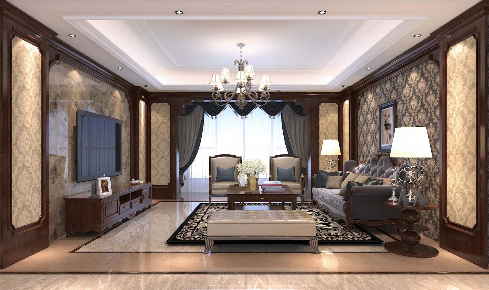 180平米大户型美式4室2厅装修效果图
