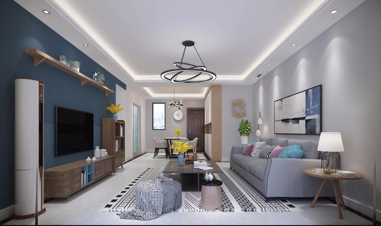 现代简约90平米两房一厅平安彩票app设计