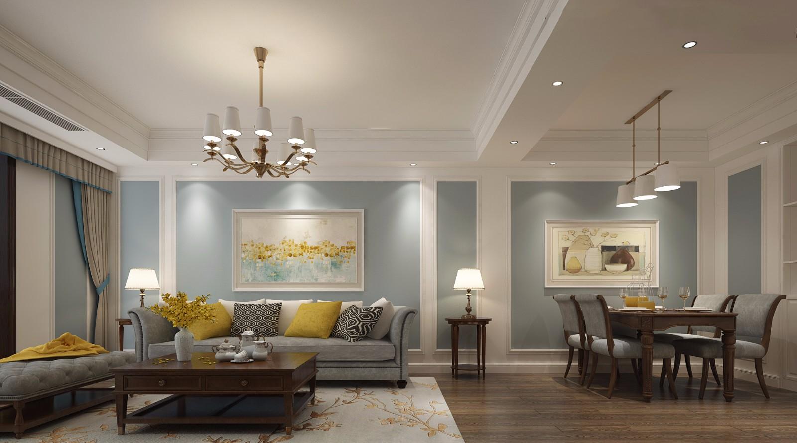 120平米四居室美式风格家装效果图