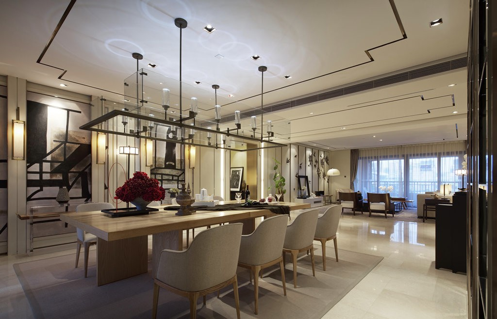 2021现代中式餐厅效果图 2021现代中式餐桌装修图片