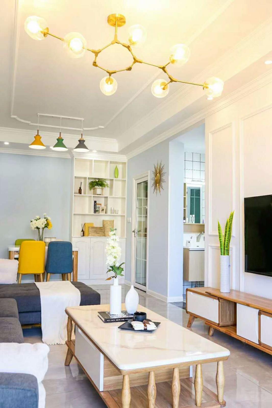 70平北欧混搭风格三室一厅效果图