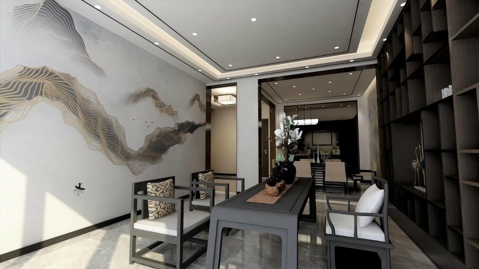 K2海棠湾260平别墅新中式风格设计效果图