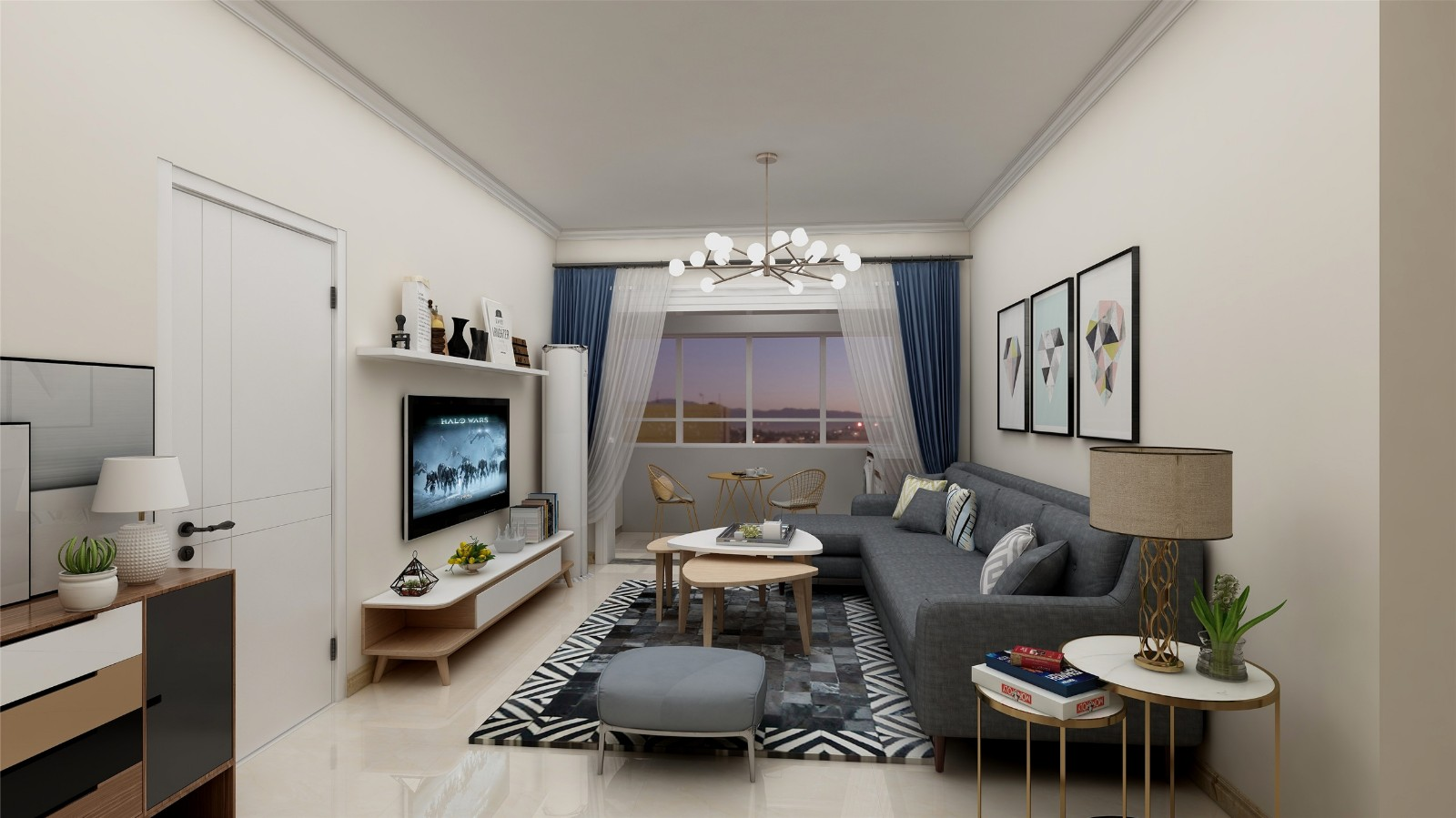 3室1卫2厅100平米北欧风格